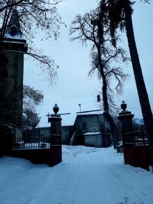 Entrée du centre - neige